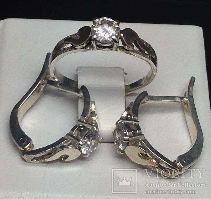 Кольцо, серьги, цирконы, позолота, фото №7