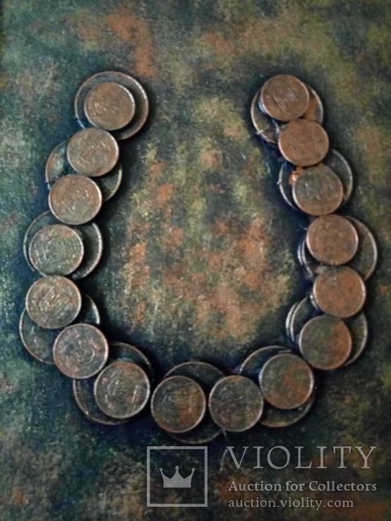 Картина из монет ДЕНЕЖНЫЙ ТАЛИСМАН  ПОДКОВА., фото №3