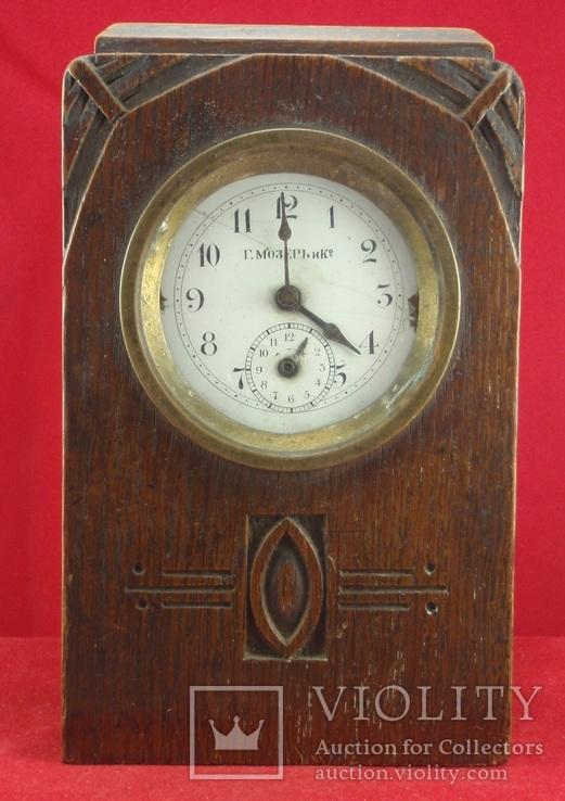 Настольные часы будильник «Г. Мозеръ и К», механизм (LENZKIRON).