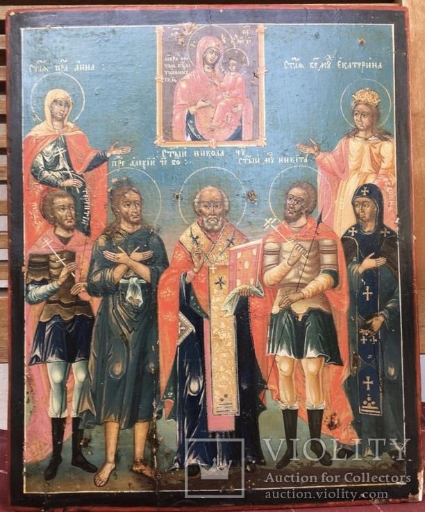 Икона конец XVIII. избранные святые в предстоянии Тихвинскому образу Богоматери