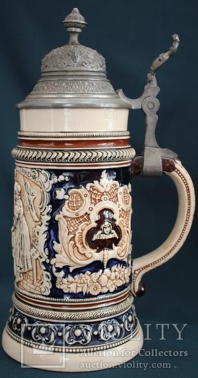 Старинная пивная кружка. Керамика. Германия.