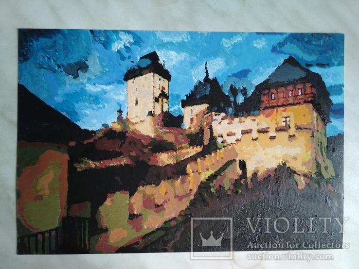 Картина нарисованная на фотобумаге красками размером 30*20