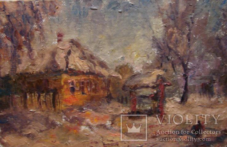 Сельский домик зимой 22*34