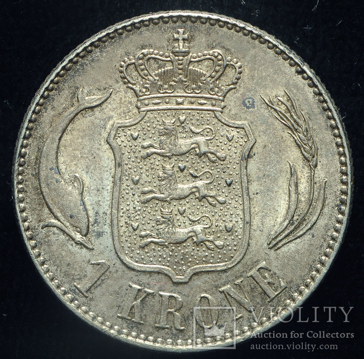 Дания 1 крона 1916 Unc серебро