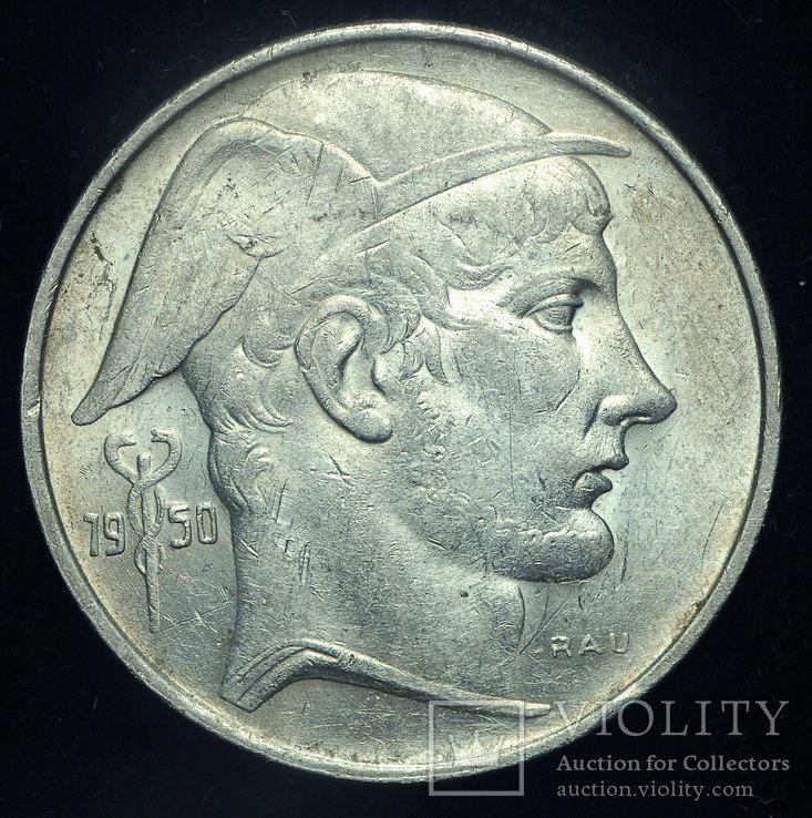 Бельгия 20 франков 1950 Unc серебро