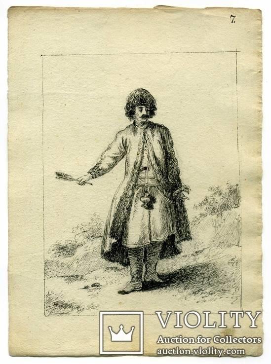 Эскизы тушью к гравюрам? середина 18 века. Жан Батист Лепренс, фото №3