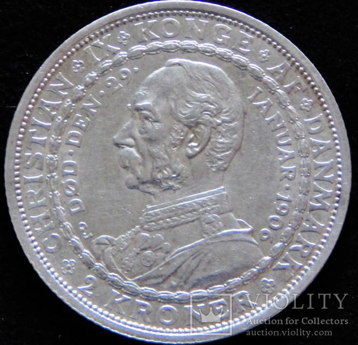 2 крони 1906 року, Данія, Кристіан IX та Фредерік VIII, срібло, 15 г