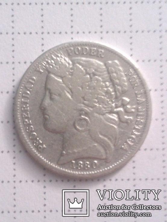 1 песета 1880 Перу, серебро