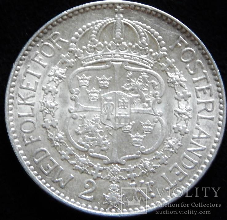 2 крони 1924 року, Швеція. Оскар V, срібло 15 г