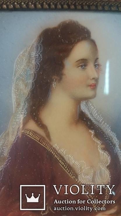 Старинная картина, миниатюрный портрет Лукреция, 18-19 век, из Германии