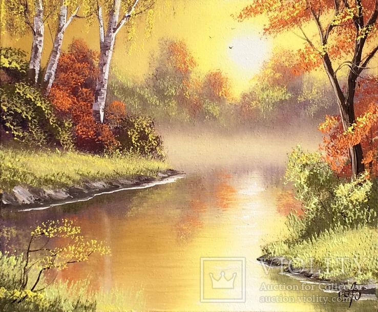 Картина Симфония осени, 25х30 см. живопись на холсте, с подписью автора