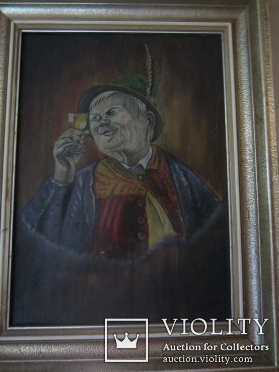144. Старинная рисованная авторская картина, Портрет