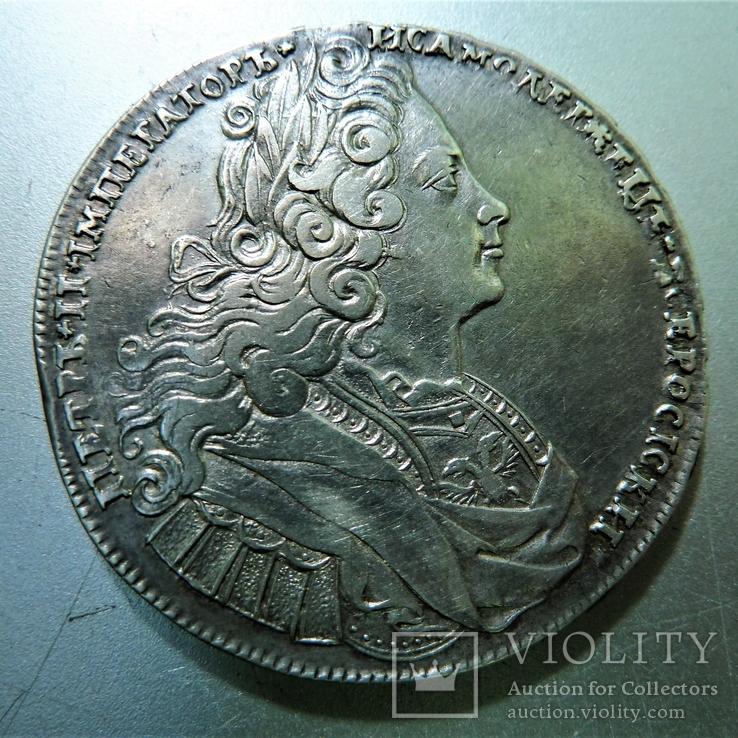 Рубль 1727 г.,  короны реверса заштрихованы