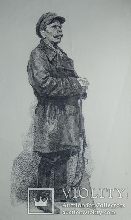 Виктор Искам Охотник 1953 уголь 84 на 59 см.