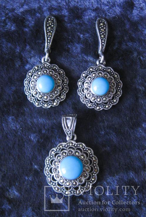 Серьги и кулон.Серебро 925пр.Бирюза и марказиты., фото №2