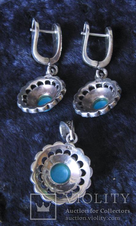 Серьги и кулон.Серебро 925пр.Бирюза и марказиты., фото №3
