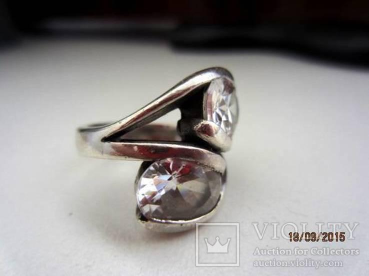 Необычное кольцо с кристаллами серебро 925 12.53 gr, фото №2