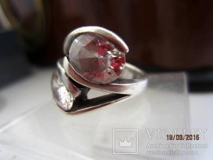 Необычное кольцо с кристаллами серебро 925 12.53 gr, фото №3