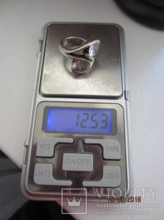Необычное кольцо с кристаллами серебро 925 12.53 gr, фото №9