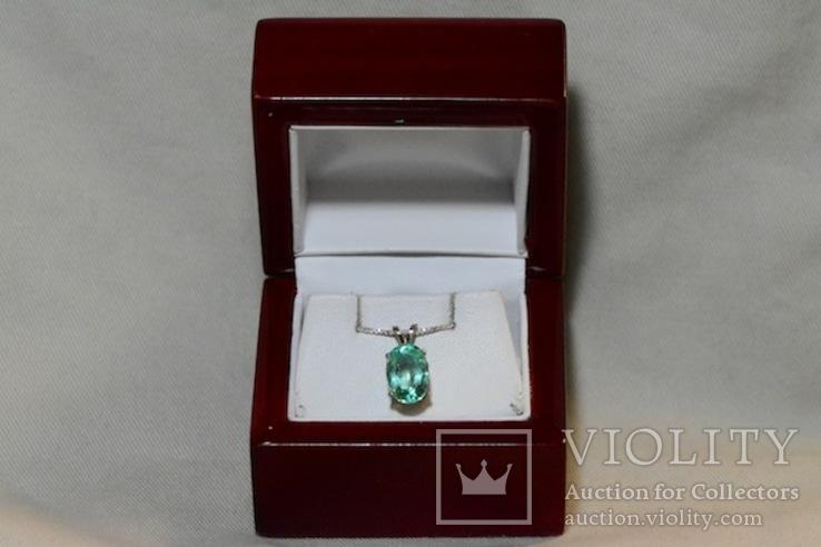 Золотое ожерелье с натуральным изумрудом, фото №2