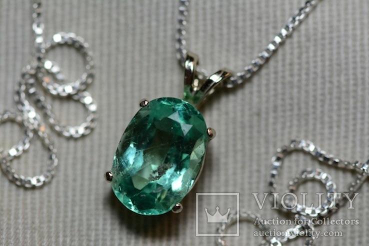 Золотое ожерелье с натуральным изумрудом, фото №4