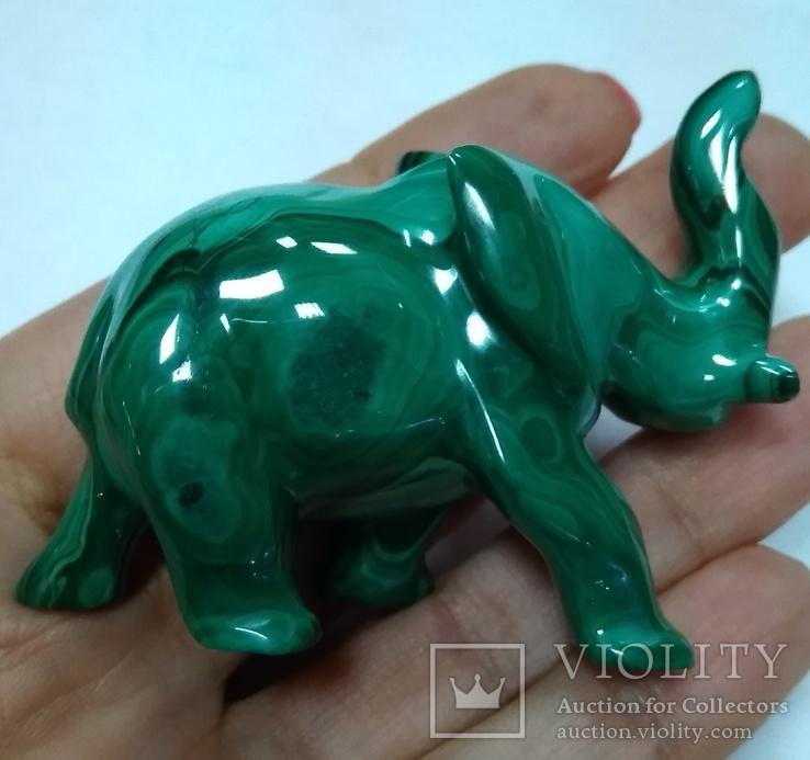 Слон из малахита. Натуральный малахит., фото №7