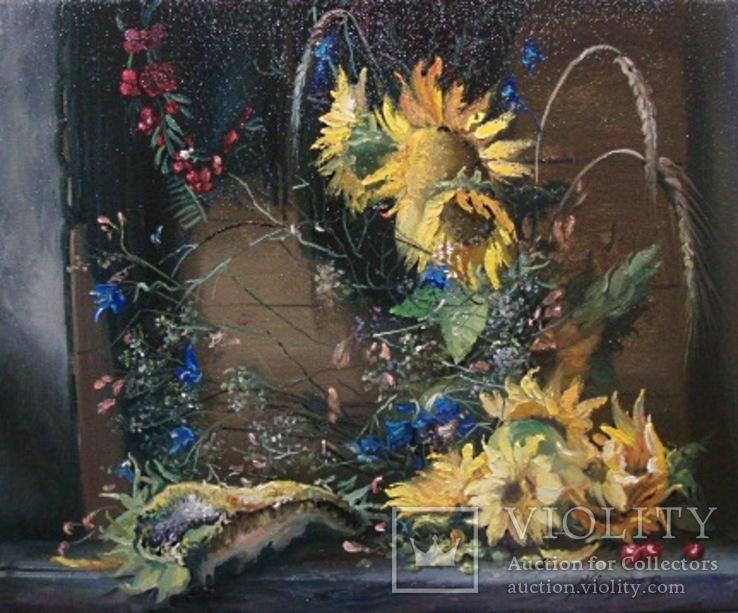 """""""Соняшники"""" 40х50 см;полотно,олія,Півень С.В."""