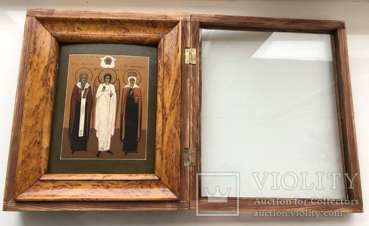 """Икона """"Священномученик Антипа,Ангел Хранитель,Священномученица Параскева"""", фото №3"""