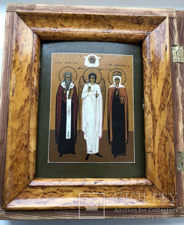 """Икона """"Священномученик Антипа,Ангел Хранитель,Священномученица Параскева"""", фото №4"""