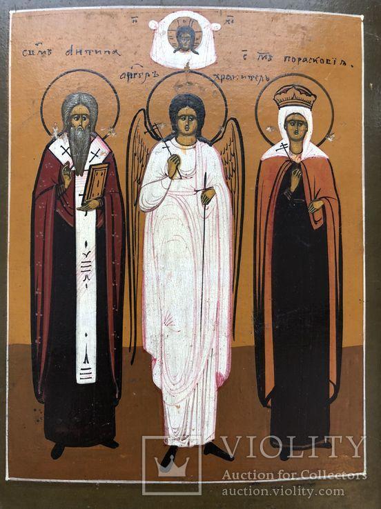 """Икона """"Священномученик Антипа,Ангел Хранитель,Священномученица Параскева"""", фото №6"""