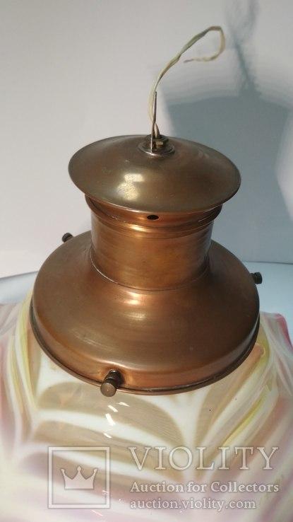 Старинная лампа с родным,большим плафоном, фото №8