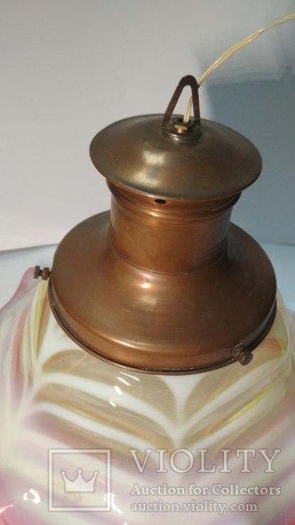 Старинная лампа с родным,большим плафоном, фото №9