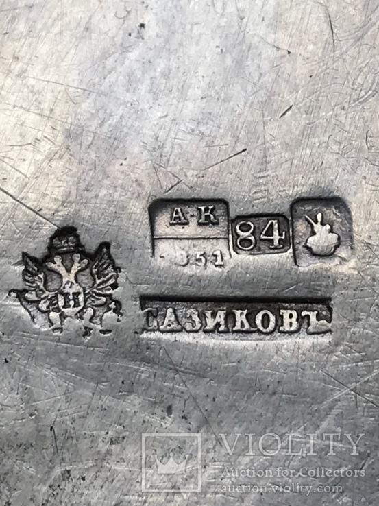Сахарница. Сазиков. Серебро 84 проба, чернь, 1851 год, фото №5