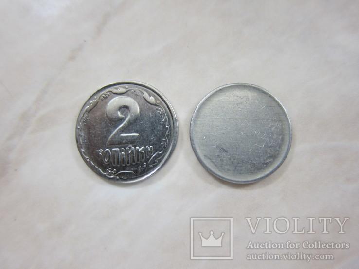 2коп. 1993г.  чекан на заготовке 1коп. (сталь немагнитная)