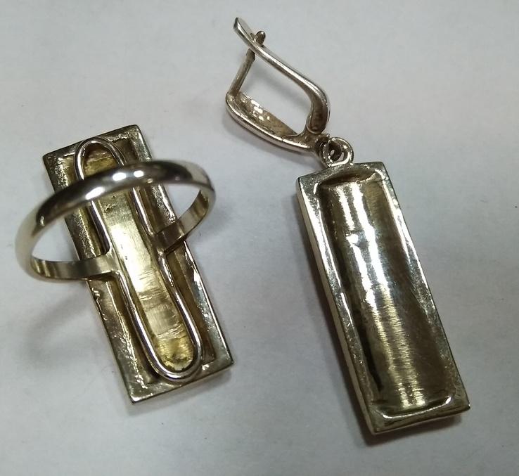 Серьги и кольцо с лазуритом. Мозаика из лазурита. Лазурит., фото №6