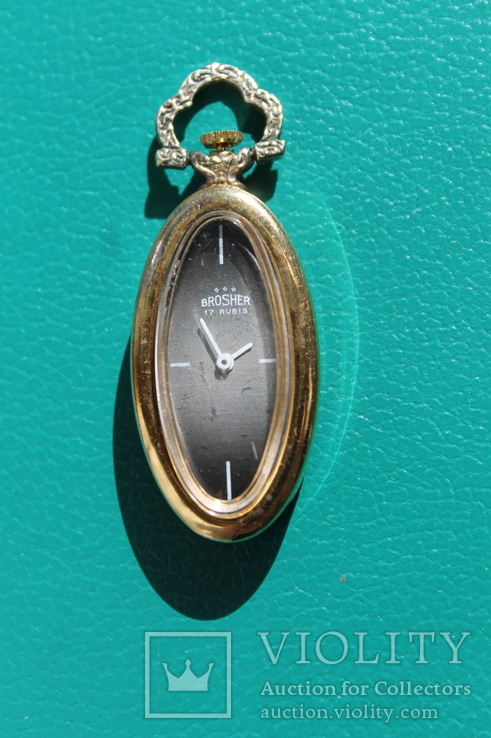 Часы Swiss Brosher серебро позолота кулон, фото №2