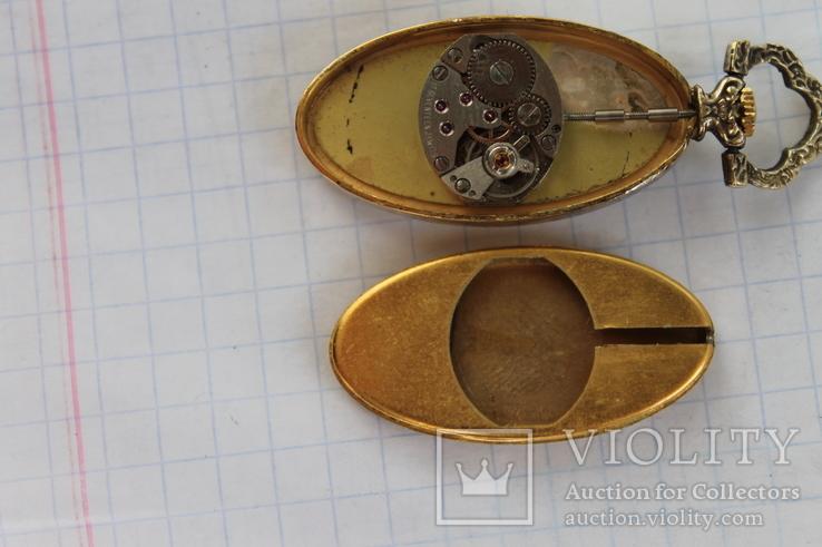 Часы Swiss Brosher серебро позолота кулон, фото №3