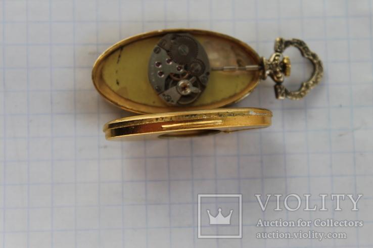 Часы Swiss Brosher серебро позолота кулон, фото №5