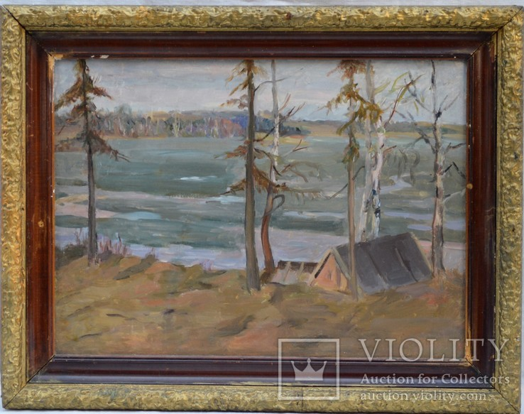 Картина На берегу реки, картон, масло, размер 36,5 х 50 см..