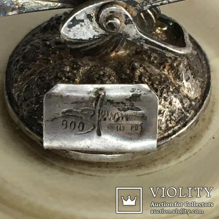 Шкатулка пудреница из кости с серебряным веером, фото №3