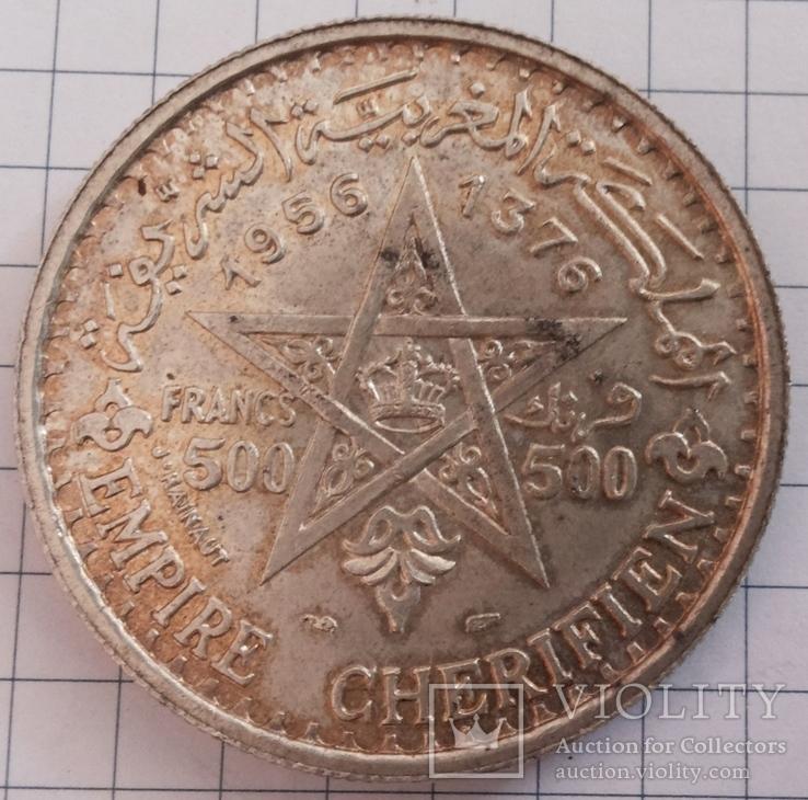 Марокко, 500 франков 1956 года, серебро 22,50 грамма