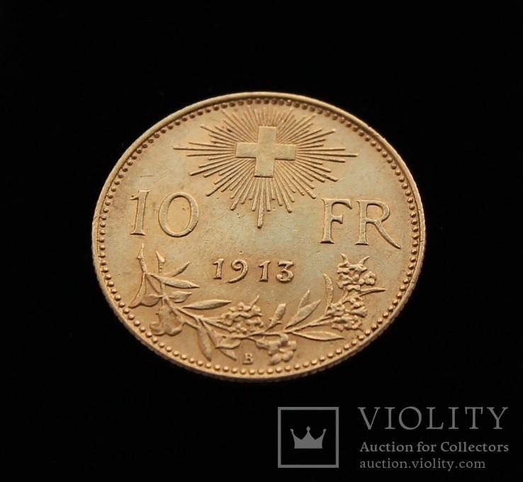 10 франков 1913 год Вренели Швейцария золото 3.25 г