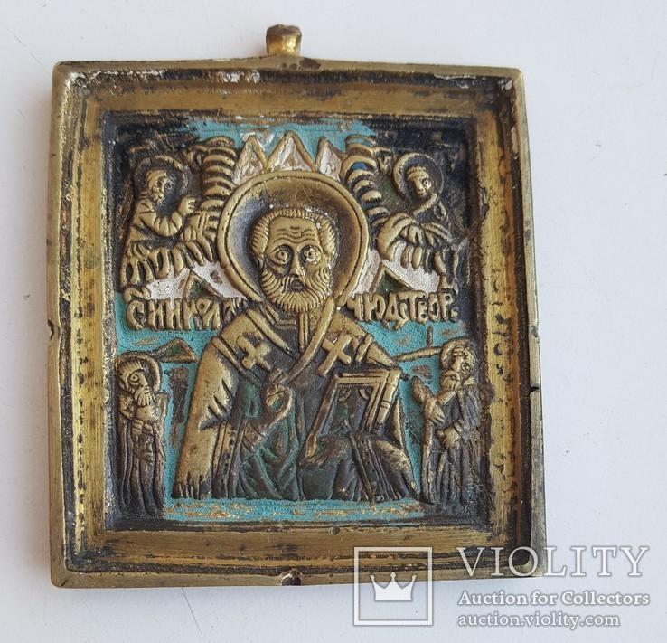 Плакетка Николай 6х5,5см бронза эмали