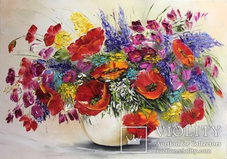 Картина «Букет полевых цветов» масло мастихин 50х70 см