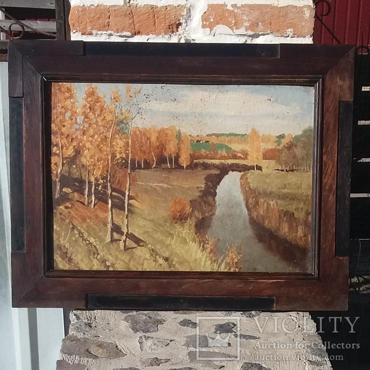 Старая картина в старой дубовой раме.Картон, масло. 61*44.