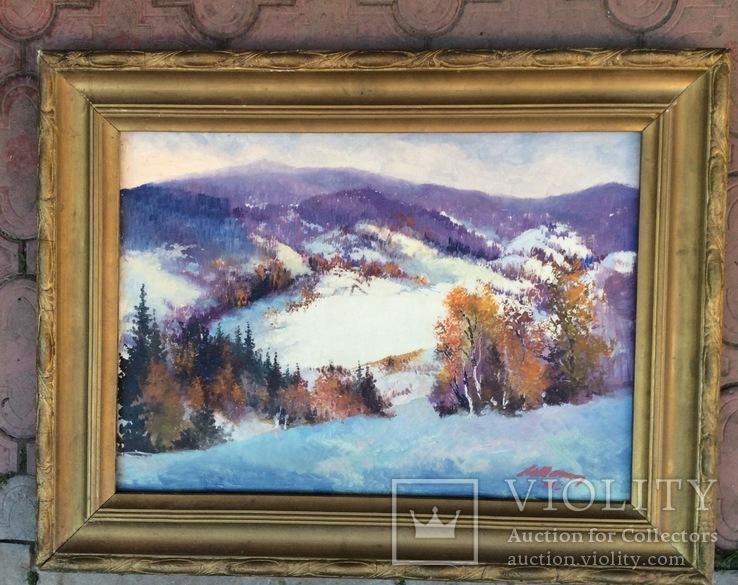 «Зима в Карпатах». Картон масло 50х70. 1986 г. подпись.