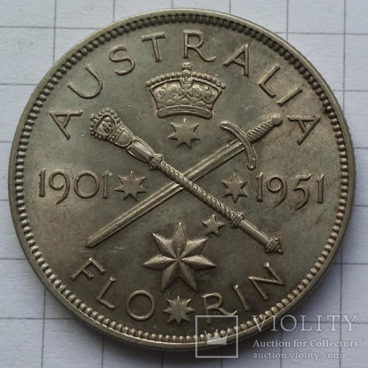 Австралия, 1 флорин 1951 года, серебро 11,30 грамма