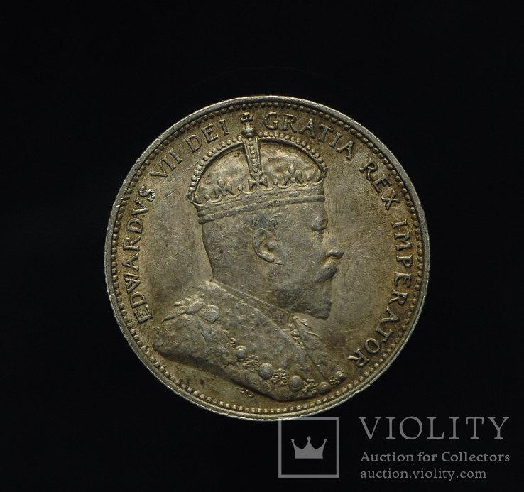 Канада 25 центов 1910 Unc серебро