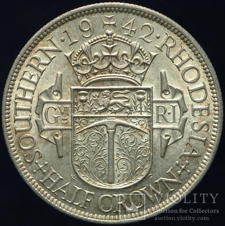 Британская Южная Родезия 1-2 кроны 1942 Unc серебро