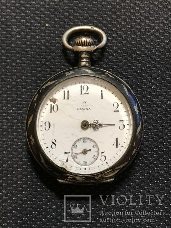 Часы карманные Omega, серебро, золото, чернь